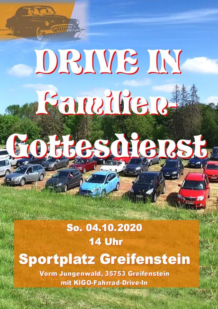 Drive In Familien Gottesdienst So. 04.10.2020 um 14:00 Uhr Sportplatz Greifenstein, Vorm Jungenwald, 35753 Greifenstein mit KIGO-Fahrrad-Drive-In