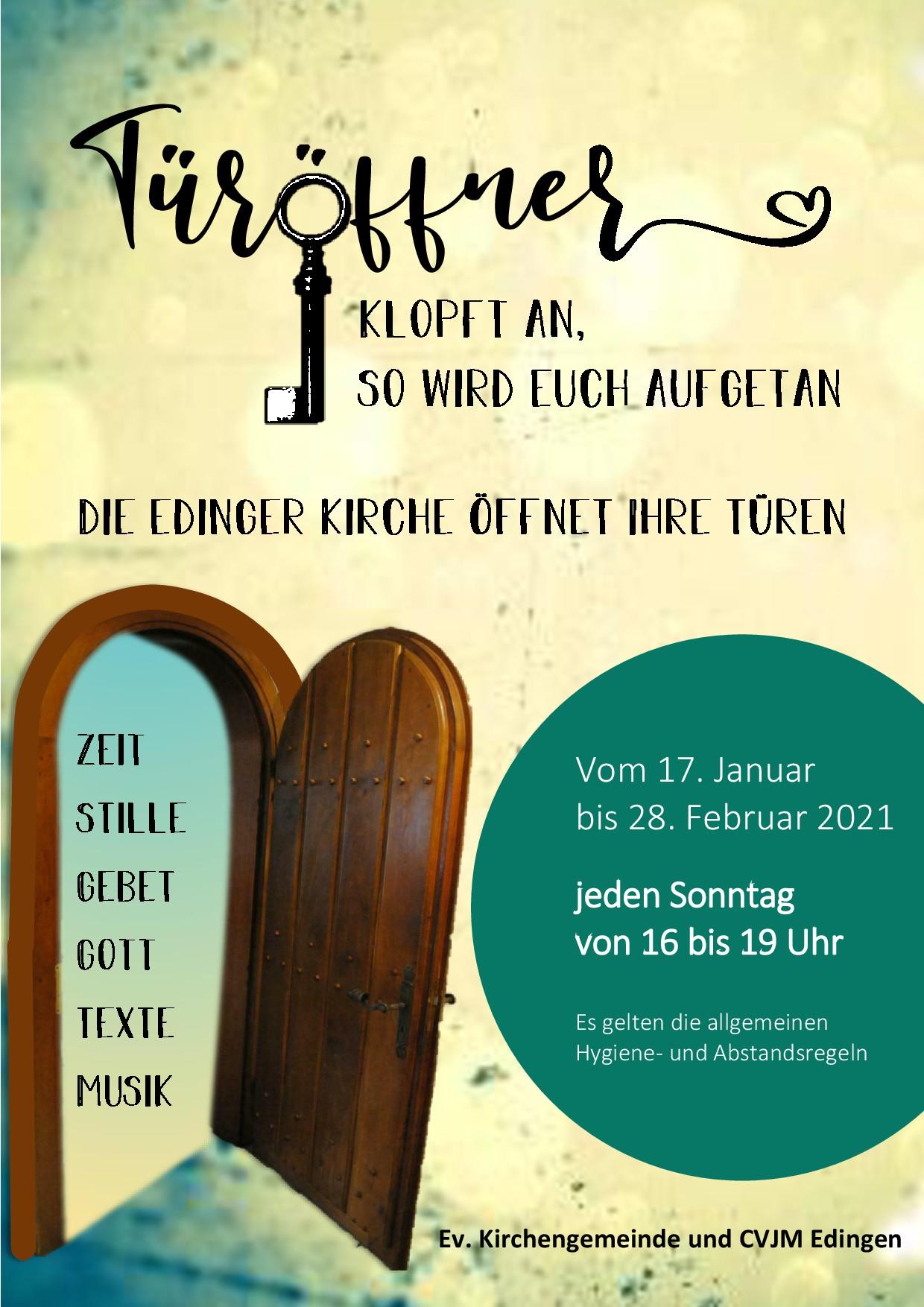 Die Edinger Kirche öffnet ihre Türen. Vom 17. Januar bis 28. Februar, jeden Sonntag von 16 bis 19 Uhr.